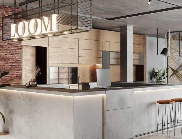 Co-Working Bereich in der Lobby des Hotel LOOM, ein Hotel der Salvia Hotels in Eislingen bei Göppingen zwischen Stuttgart, Esslingen und Ulm.