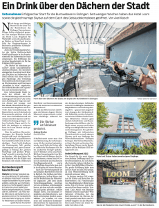 Artikel in der NWZ zur Eröffnung der Skybar im Hotel Loom in Eislingen